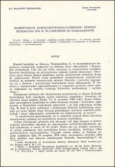 Kompetencje konstantynopolitańskiego synodu endemousa (do XI w.) odnośnie do sakramentów