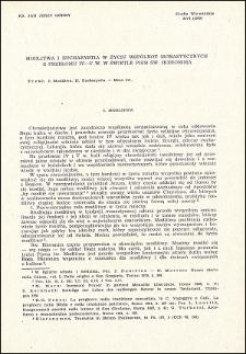 Modlitwa i Eucharystia w życiu wspólnot monastycznych z przełomu IV-V w. w świetle pism św. Hieronima