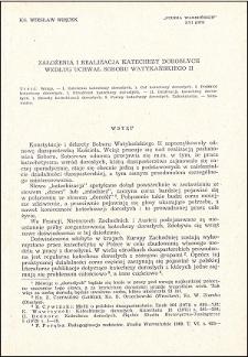 Założenia i realizacja katechezy dorosłych według uchwał Soboru Watykańskiego II