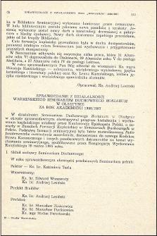"""Sprawozdanie z działalności Warmińskiego Seminarium Duchownego """"Hosianum"""" w Olsztynie za rok akademicki 1986/1987"""
