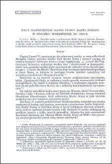 Kult Najświętszej Maryi Panny Matki Pokoju w Stoczku Warmińskim do 1920 r.