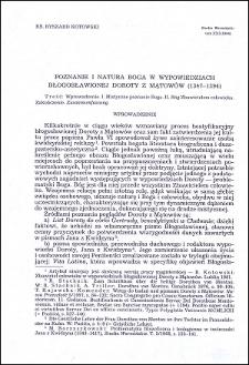Poznanie i natura Boga w wypowiedziach błogosławionej Doroty z Mątowów (1347-1394)