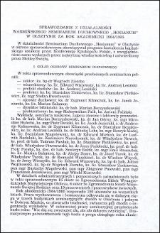 """Sprawozdanie z działalności Warmińskiego Seminarium Duchownego """"Hosianum"""" w Olsztynie za rok akademicki 1984/1985"""