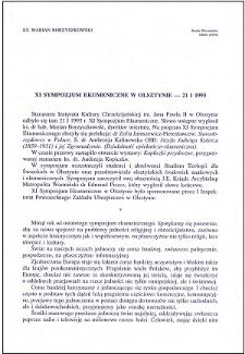 XI Sympozjum Ekumeniczne w Olsztynie - 21 I 1993