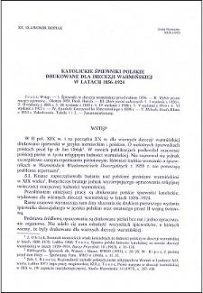 Katolickie śpiewniki polskie drukowane dla diecezji warmińskiej w latach 1856-1924