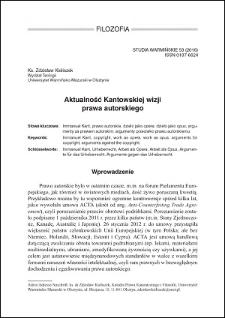 Aktualność Kantowskiej wizji prawa autorskiego