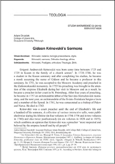 Gideon Krinovskii's sermons