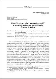 """Kościół Janowy jako """"antyspołeczność"""" w socjolingwistycznej perspektywie Bruce'a J. Maliny"""