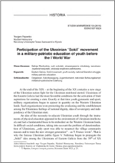 """Participation of the Ukrainian """"Sokil"""" movement in a military-patriotic education of youth before the I World War"""
