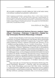 """Ogólnopolska Konferencja Naukowa """"Sacrum w mediach. Komunikacja - Prowokacja - Profanacja"""", 11 maja 2015 r., Wydział Teologii Uniwersytetu Warmińsko-Mazurskiego w Olsztynie"""