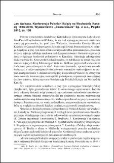Jan Walkusz, Konferencja Polskich Księży na Wschodnią Kanadę 1956-2016 : [recenzja]