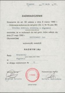 Zaświadczenie o wybraniu na radnego 1990