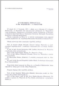 IV Colloquia Mediaevalia : o św. Wojciechu - w Olsztynie