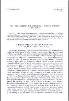 Statuty kapituły kolegiackiej w Dobrym Mieście z 1583 roku