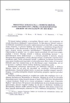 Biblioteka kolegiacka w Dobrym Mieście : zarys historyczny i próba charakterystyki zbiorów od początków do 1814 roku
