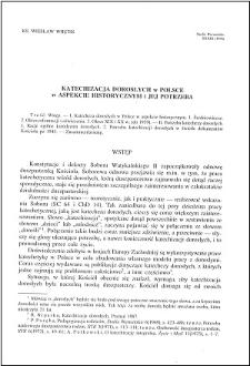 Katechizacja dorosłych w Polsce w aspekcie historycznym i jej potrzeba