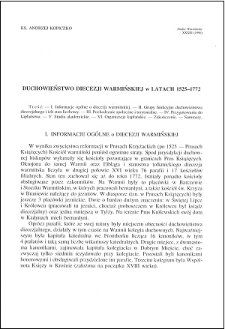 Duchowieństwo diecezji warmińskiej w latach 1525-1772