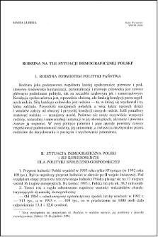 Rodzina na tle sytuacji demograficznej Polski