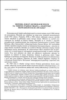 Historia badań archeologicznych na terenie Starego Miasta w Olsztynie prowadzonych do 1995 roku