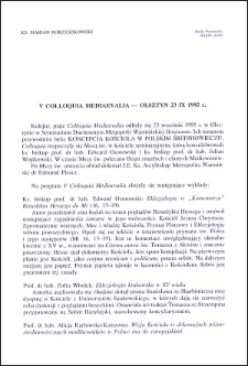 V Colloquia Mediaevalia : Olsztyn 23 IX 1995 r.