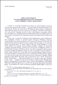 """""""Ordo episcoporum"""" : wczesnośredniowieczny episkopat jako odrębna grupa społeczna"""