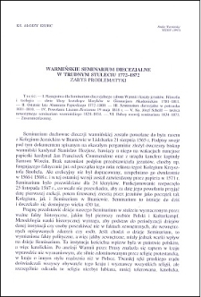 Warmińskie Seminarium Diecezjalne w trudnym stuleciu 1772-1872 : zarys problematyki