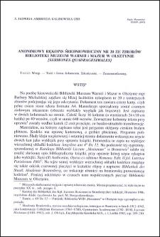 Anonimowy rękopis średniowieczny nr 20 ze zbiorów Biblioteki Muzeum Warmii i Mazur w Olsztynie : [Sermones quadragesimales]