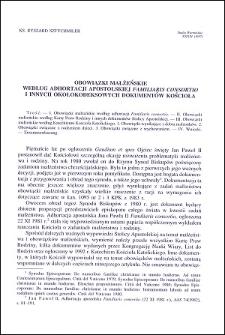 """Obowiązki małżeńskie według adhortacji apostolskiej """"Familiaris consortio"""" i innych okołokodeksowych dokumentów Kościoła"""