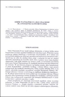 Sobór Watykański II i jego znaczenie dla dydaktyki katechetycznej