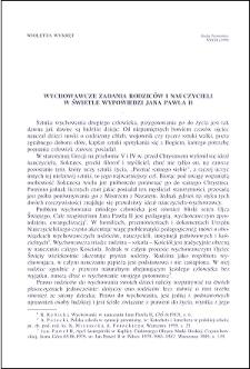 Wychowawcze zadania rodziców i nauczycieli w świetle wypowiedzi Jana Pawła II