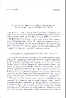 Ksiądz Karol Wojtyla - mój profesor na KUL : (wspomnienia z okazji 20-lecia pontyfikatu)