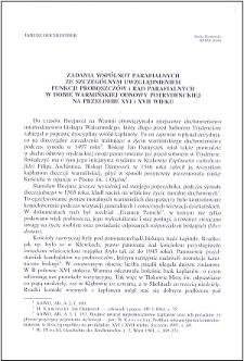 Zadania wspólnot parafialnych ze szczególnym uwzględnieniem funkcji proboszczów i rad parafialnych w dobie warmińskiej odnowy potrydenckiej na przełomie XVI i XVII wieku