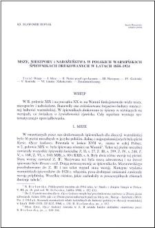 Msze, nieszpory i nabożeństwa w polskich warmińskich śpiewnikach drukowanych w latach 1858-1924