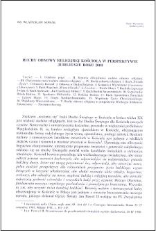 Ruch odnowy religijnej Kościoła w perspektywie jubileuszu roku 2000