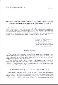 Udział Kościoła w życiu społeczno-politycznym Polski w świadomości etycznej młodzieży szkół średnich