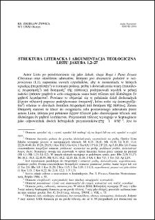 Struktura literacka i argumentacja teologiczna Listu Jakuba 1,2-27