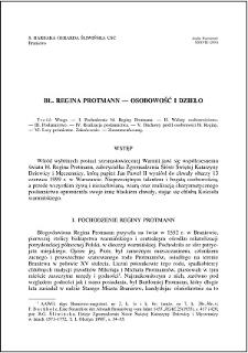 Bł. Regina Protmann : osobowość i dzieło