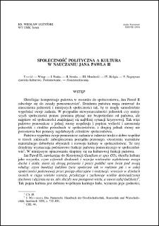 Społeczność polityczna a kultura w nauczaniu Jana Pawła II