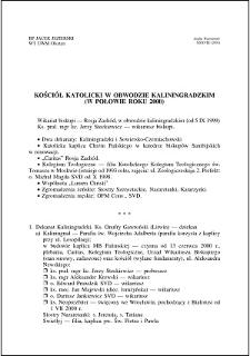 Kościół katolicki w Obwodzie Kaliningradzkim : (w połowie roku 2000)