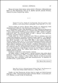 Emanuel Vlček, Jan z Pomuku (Sv. Jan Nepomucký. Jeho život, umučení a slavné působení ve světle současné historie a antropologie) : [recenzja]