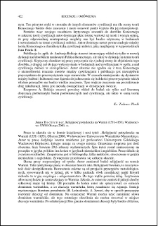Janusz Hochleitner, Religijność potrydencka na Warmii (1551-1655) : [recenzja]