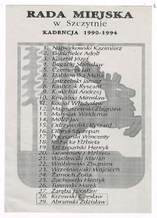 Lista Radnych Miejskich oraz członków Komisji Rady Miejskiej w Szczytnie w kadencji 1990-1994