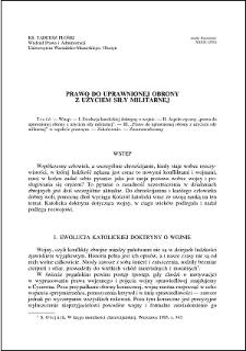 Prawo do uprawnionej obrony z użyciem siły militarnej