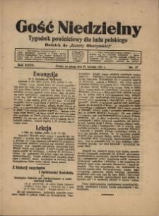 """Gość Niedzielny : tygodnik powieściowy dla ludu polskiego : dodatek do """"Gazety Olsztyńskiej"""", 1921 (R. 35), nr 17"""