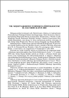 VIII. Międzynarodowe Sympozjum Józefologiczne, El Salvador 16-23 IX 2001