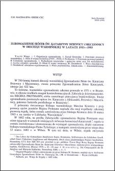 Zgromadzenie Sióstr św. Katarzyny Dziewicy i Męczennicy w diecezji warmińskiej w latach 1933-1993