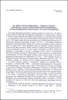 Ks. prof. Stefan Biskupski : objęcie urzędu wikariusza kapitulnego diecezji warmińskiej i charakterystyka jego pracy na tym stanowisku