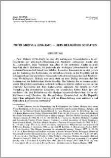 Piotr Mohyła (1596-1647) : sein religiöses schaffen