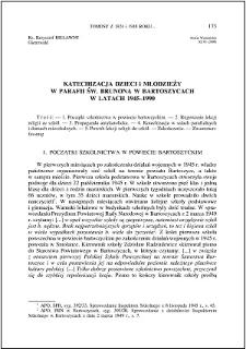 Katechizacja dzieci i młodzieży w parafii św. Brunona w Bartoszycach w latach 1945-1990