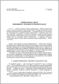 Współczesne ujęcie przedmiotu teologii fundamentalnej